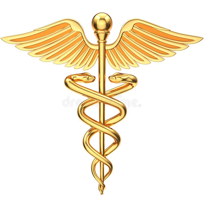 guld- caduceus stock illustrationer