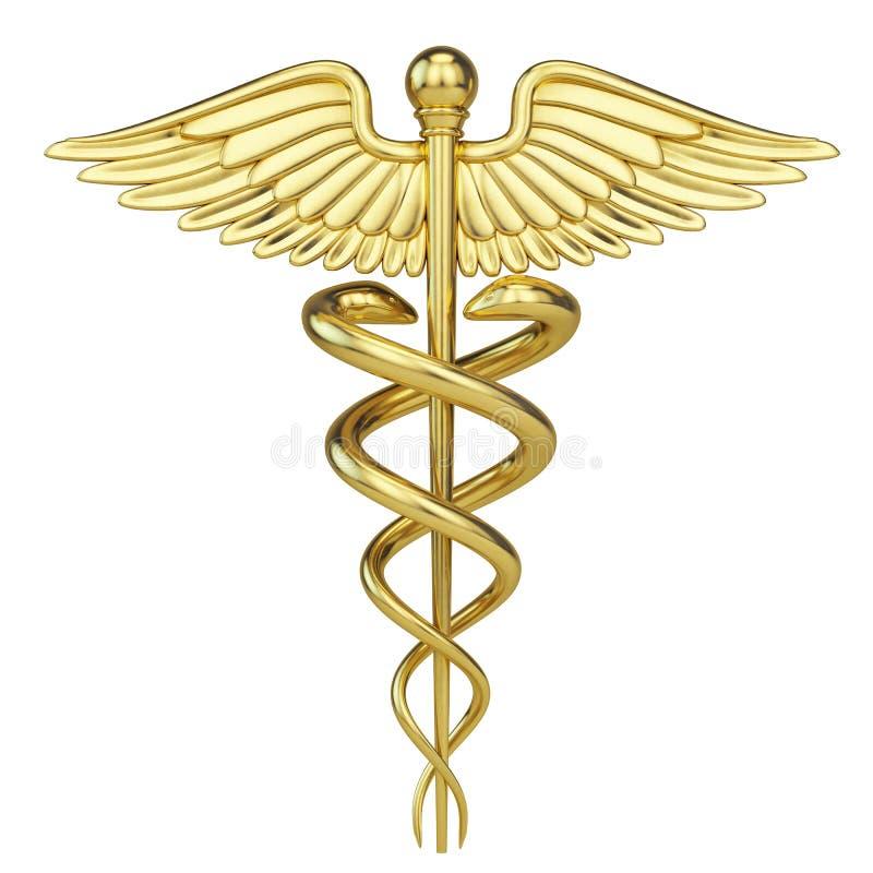 Guld- Caduceus - medicinskt symbol med isolerat på vit royaltyfri illustrationer