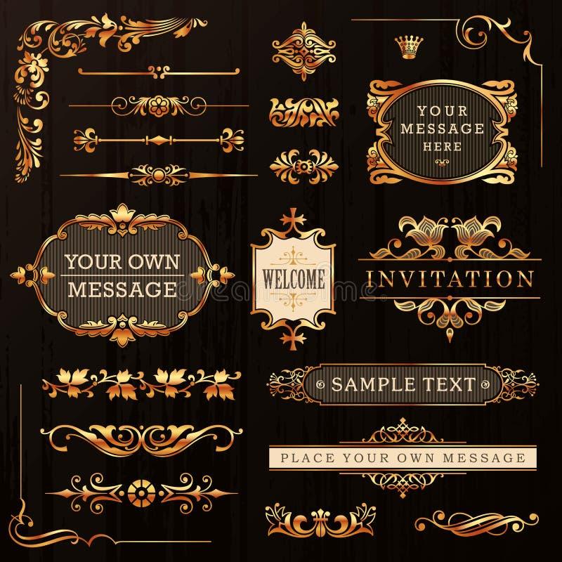 Guld- Calligraphic designbeståndsdelar stock illustrationer