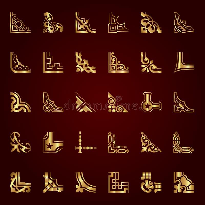 Guld- calligraphic hörn i retro stil - vektoruppsättning vektor illustrationer