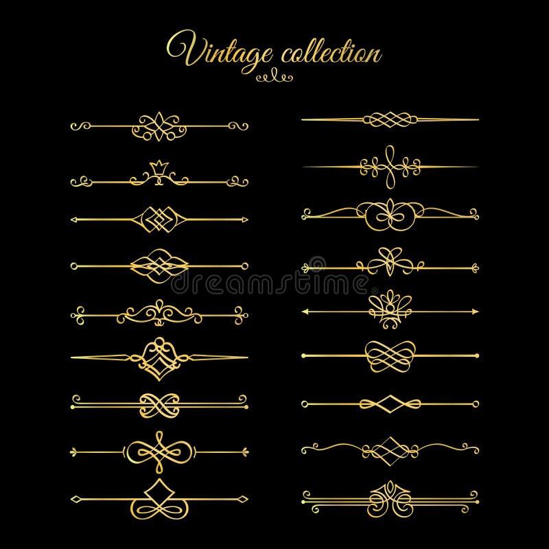 Guld- calligraphic sidaavdelare vektor illustrationer