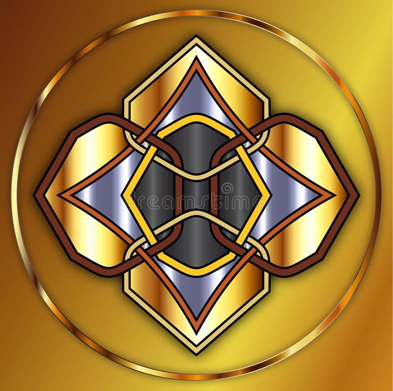 Guld- Celtic fnurra royaltyfri illustrationer