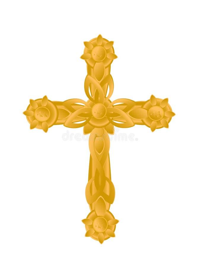 Guld- celtic kors arkivfoto