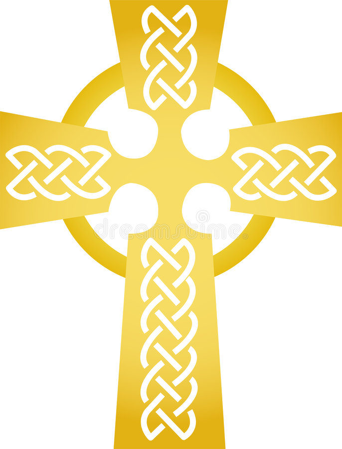 guld- celtic kors eps stock illustrationer