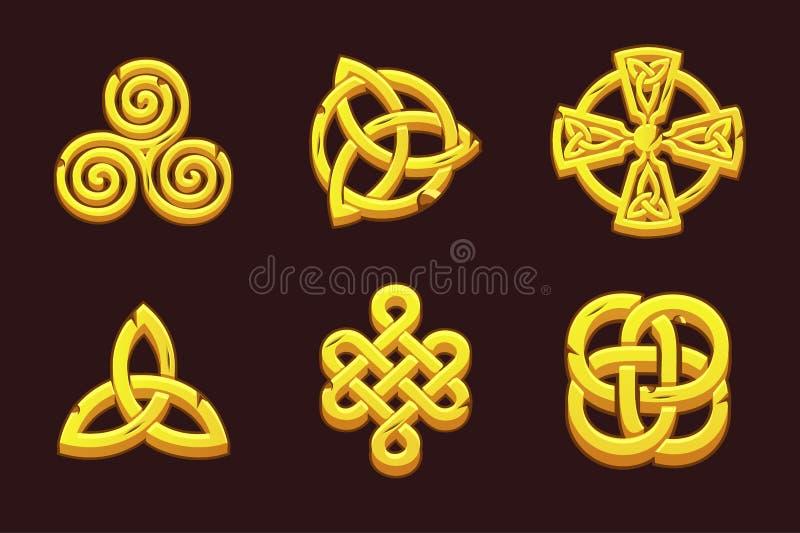 Guld- celtic symboler Tecknade filmen ställde in celtic symboler stock illustrationer