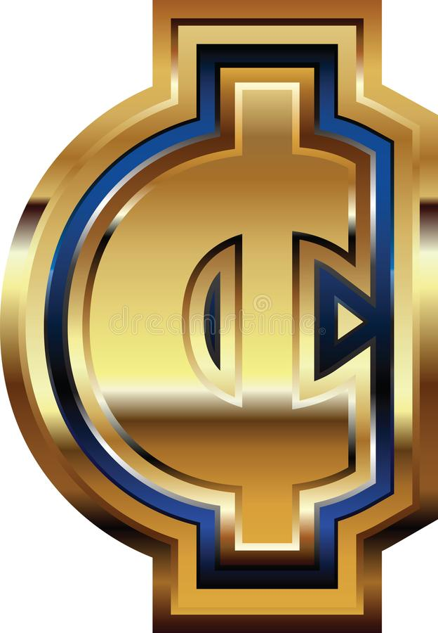 Guld- centsymbol royaltyfri illustrationer