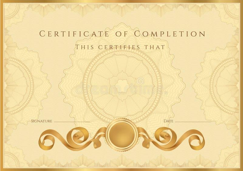 Guld- certifikat-/diplombakgrund (mallen) royaltyfri illustrationer