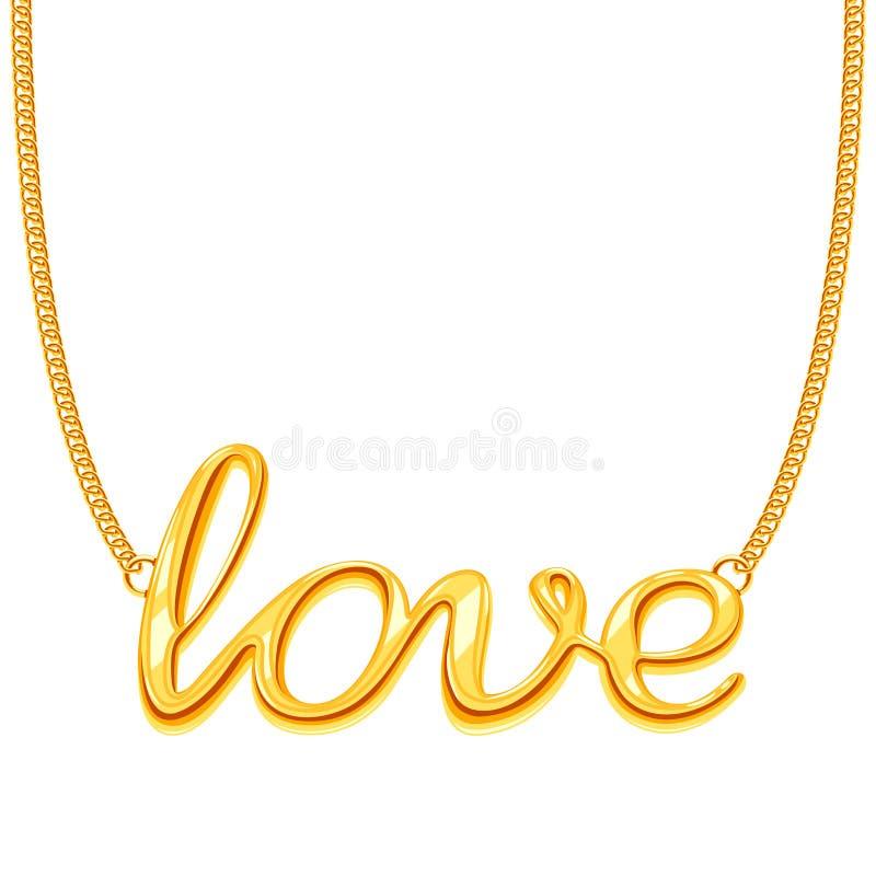 Guld- chain halsband med illustrationen för vektor för FÖRÄLSKELSEordhänge vektor illustrationer