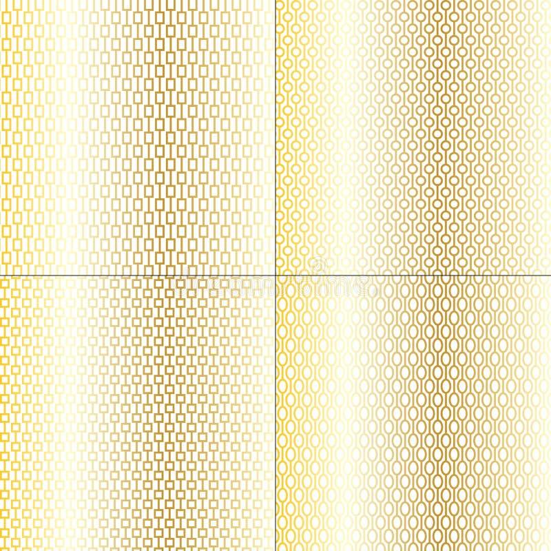Guld- chain vektorbakgrundsmodeller royaltyfri illustrationer