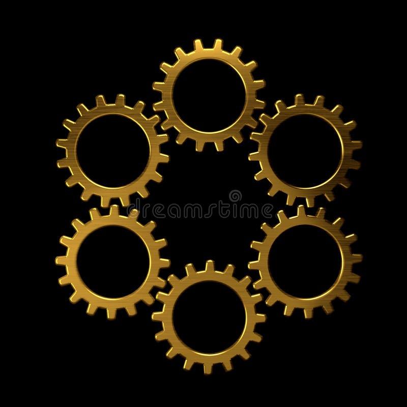 Guld- cirkel av kugghjul royaltyfri illustrationer