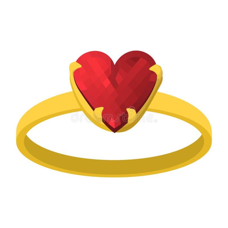 Guld- cirkel med den röda symbolen för hjärtagemstonetecknad film stock illustrationer