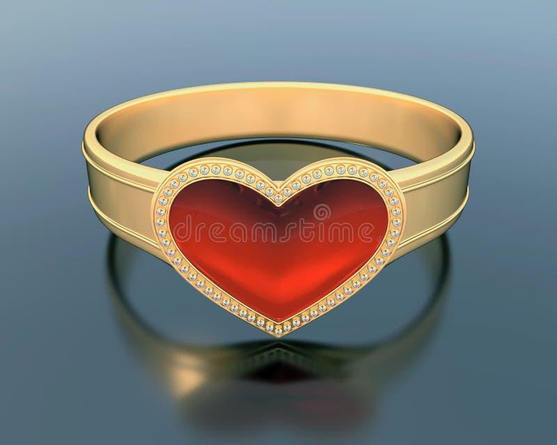 Guld- cirkel med en hjärtaformrubin stock illustrationer