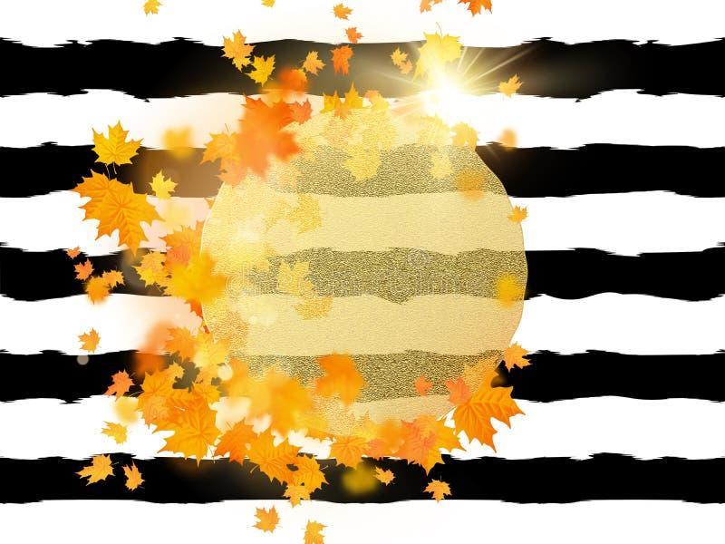 Guld- cirkel med höstlönnlövbakgrund Säsongmall för designbanret, biljett, broschyr, kort, affisch och vektor illustrationer