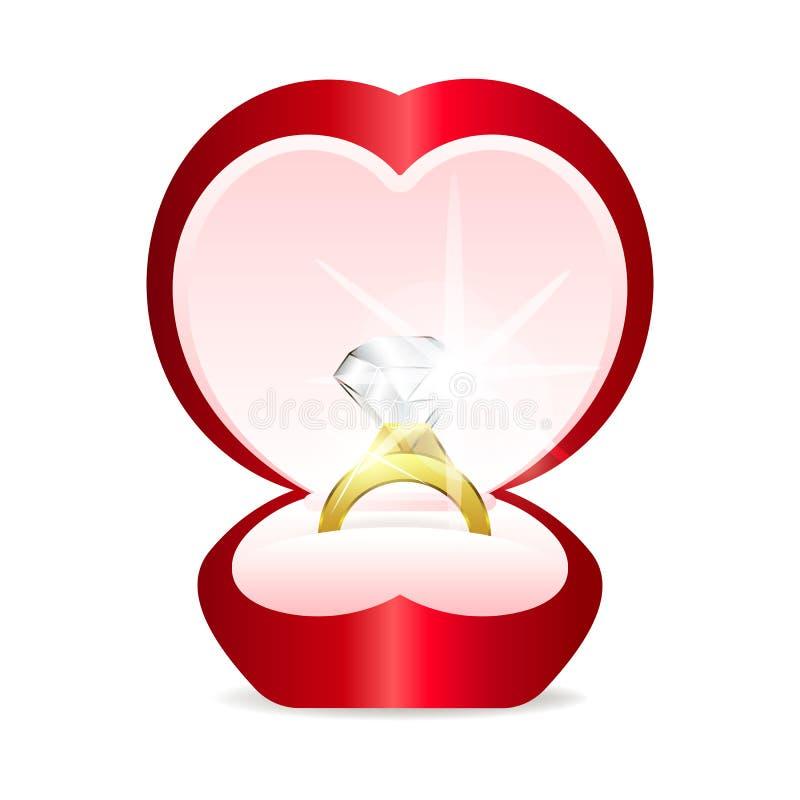 Guld- cirkel med hjärtagemstonen royaltyfri illustrationer