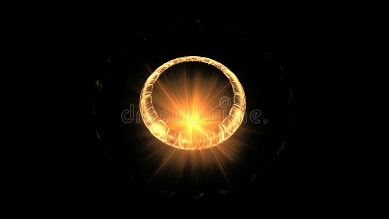 Guld- cirkel och brand på svart royaltyfri illustrationer