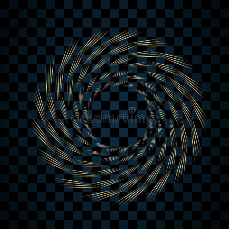 Guld- cirkel som isoleras på genomskinlig svart bakgrund Guld- Ring Frame Blänka rundan med ljust mousserar brigham vektor illustrationer