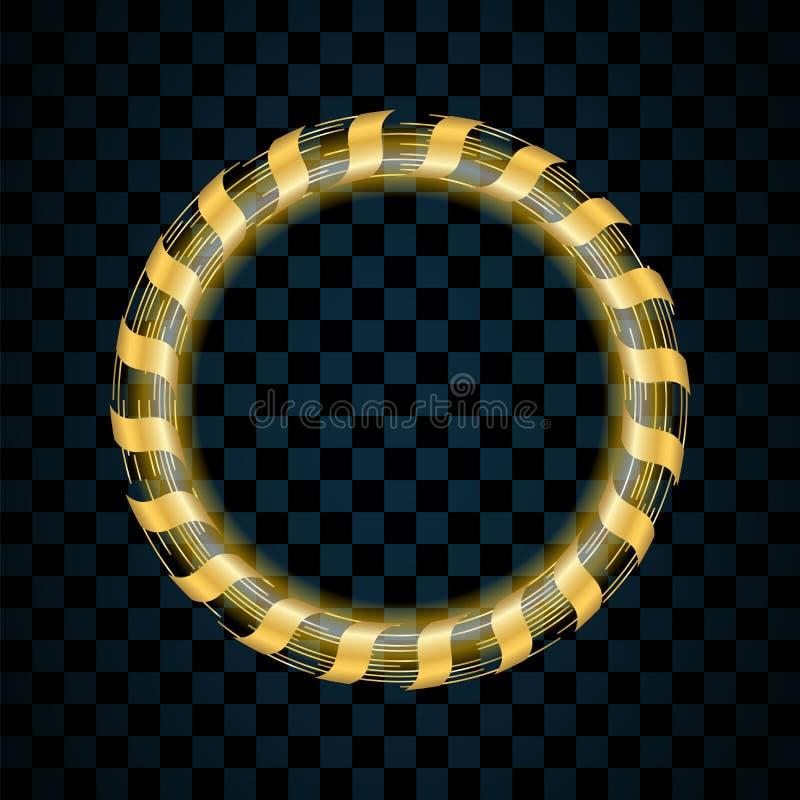 Guld- cirkel som isoleras på genomskinlig svart bakgrund Guld- Ring Frame Blänka rundan med ljust mousserar brigham stock illustrationer