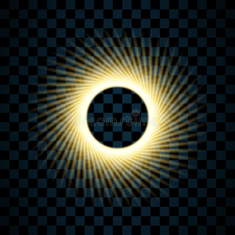 Guld- cirkel som isoleras på genomskinlig svart bakgrund Guld- Ring Frame Blänka rundan med ljust mousserar brigham royaltyfri illustrationer
