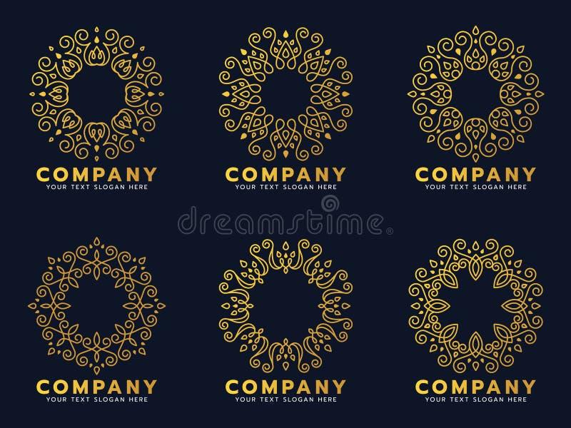 Guld- cirkelblommalinje konst för fastställd design för logo- och ramvektor vektor illustrationer