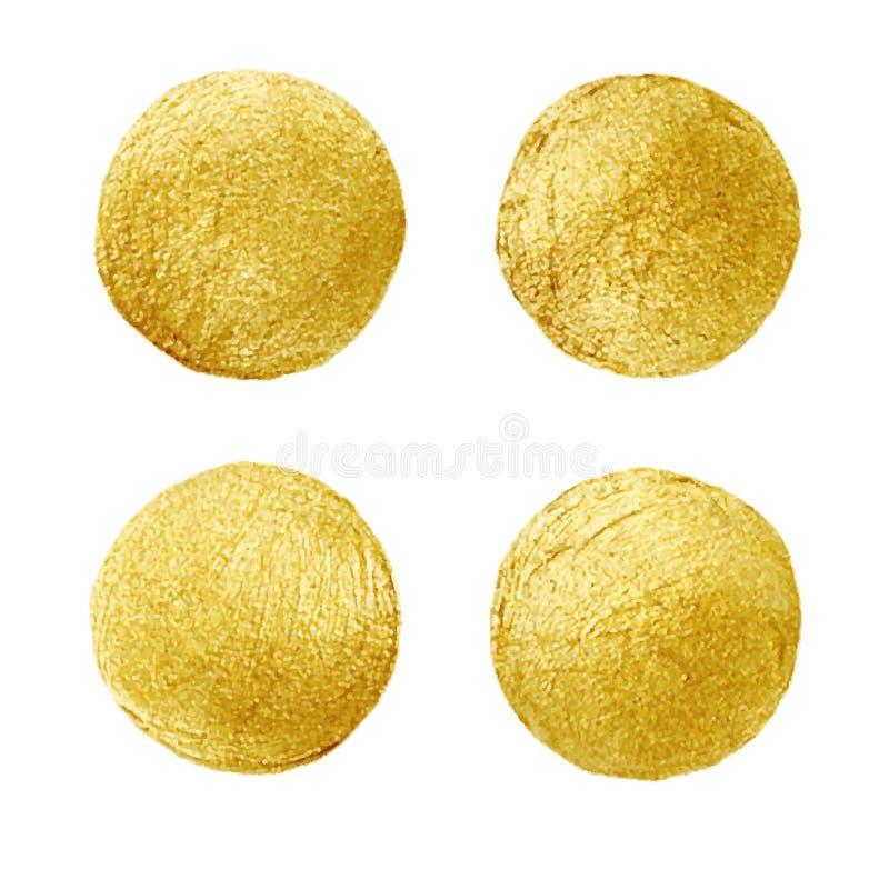 Guld- cirkelfläck Abstrakt hand målad guld- bakgrund stock illustrationer
