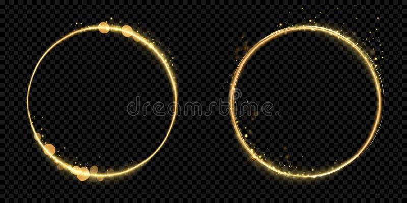 Guld- cirkelramguld blänker bakgrund för svart för brusanden för den ljusa partikelvektorn skinande royaltyfri illustrationer