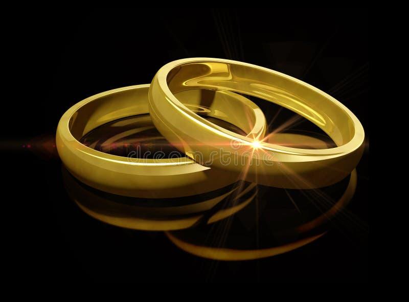 guld- cirklar två som gifta sig stock illustrationer