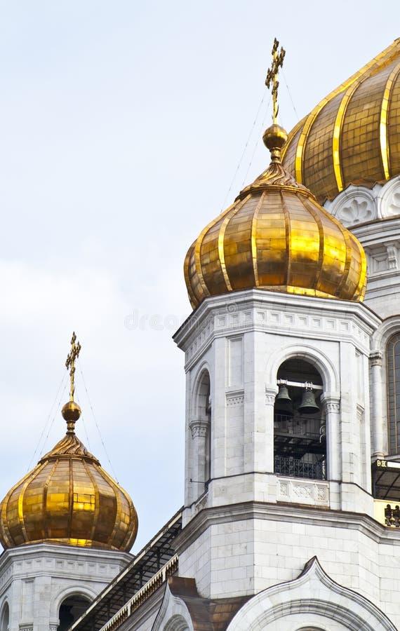 Guld- cupolas av domkyrkan av Kristus frälsaren mig arkivfoton