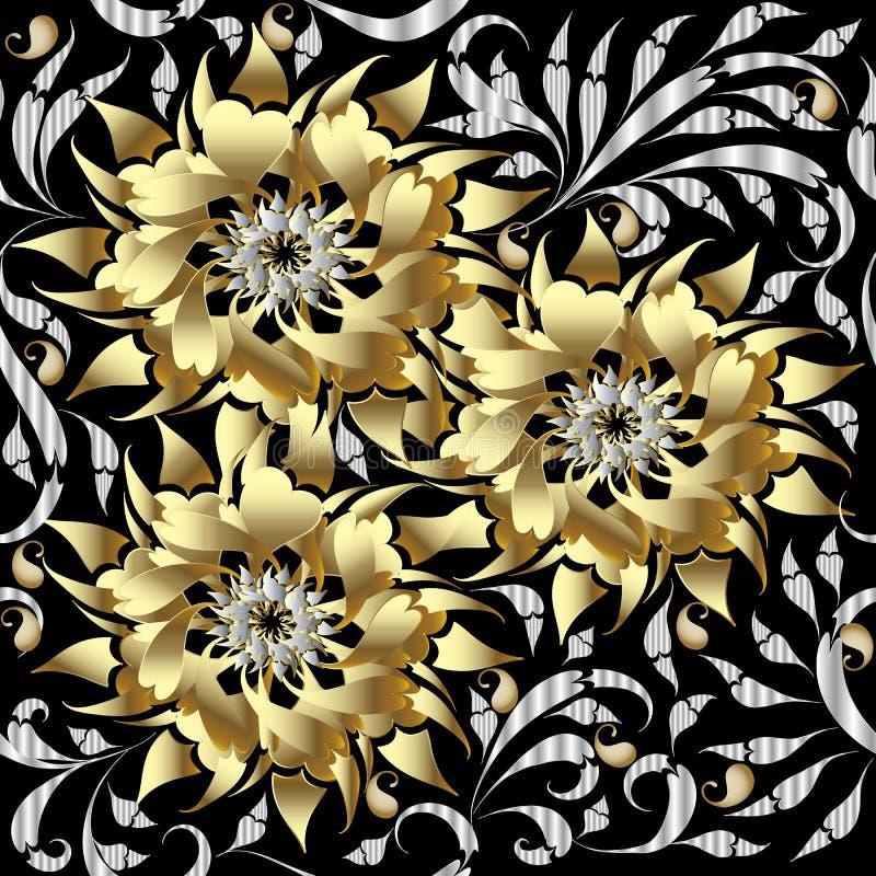 Guld 3d blommar den sömlösa modellen den blom- bakgrundsdesignen använder idealt den din vektorn 3D W stock illustrationer
