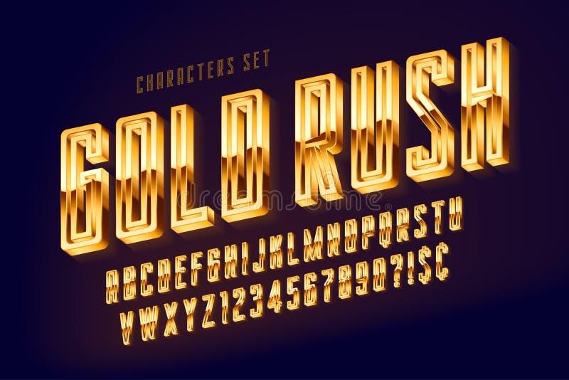 Guld- 3d polerade stilsorten, guld- bokstäver och nummer royaltyfri illustrationer
