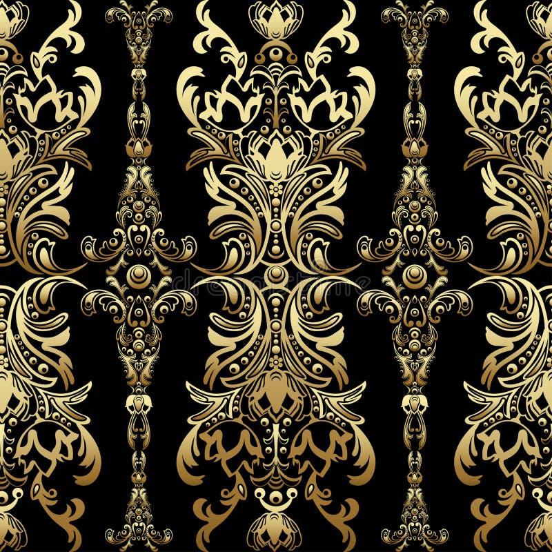 Guld- damast blom- sömlös modell med arabesquen, orientalisk prydnad, lyxig design vektor illustrationer