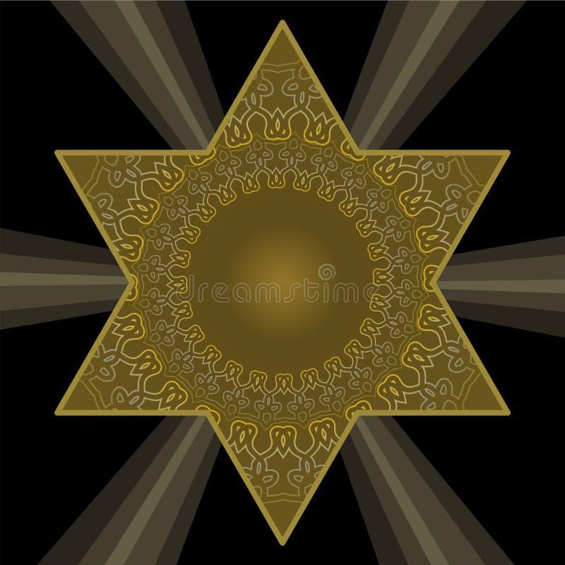 Guld- davidsstjärna i antik stil Filigranmodeller på mörk guld- färg Judiskt religiöst symbol på svart bakgrund stock illustrationer