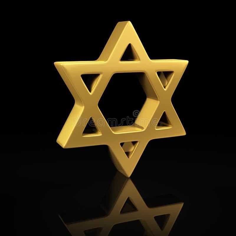 Guld- davidsstjärna på svart stock illustrationer
