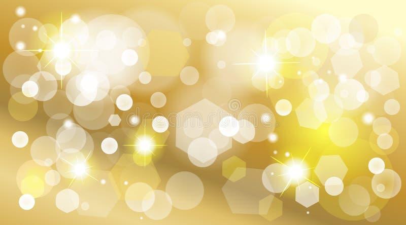 Guld- defocused tapet för sken för ljuseffekt stock illustrationer