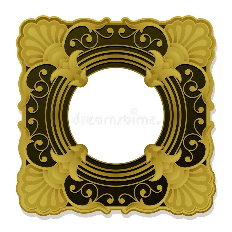 guld- dekorativ bildtappning för ram stock illustrationer