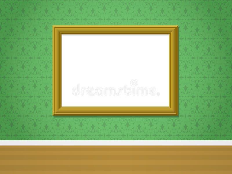 guld- dekorativ bildvägg för ram stock illustrationer