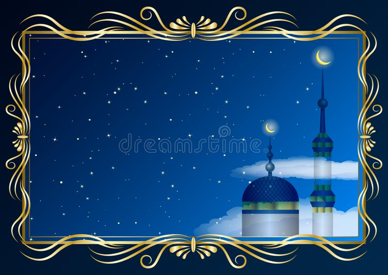 Guld- dekorativ ram och moské, minaret på bakgrunden av den stjärnklara himlen vektor illustrationer