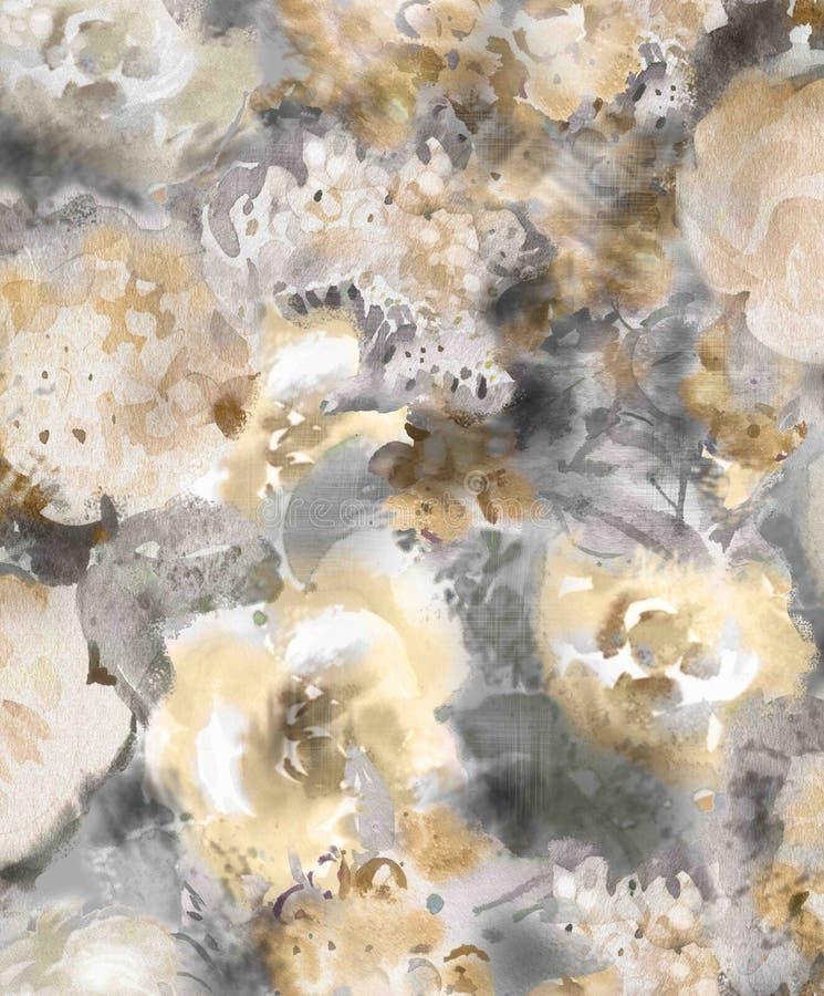 Guld- dekorativa blommor för monokrom vattenfärg på en mörk bakgrund - en stor modell för tapet royaltyfri illustrationer
