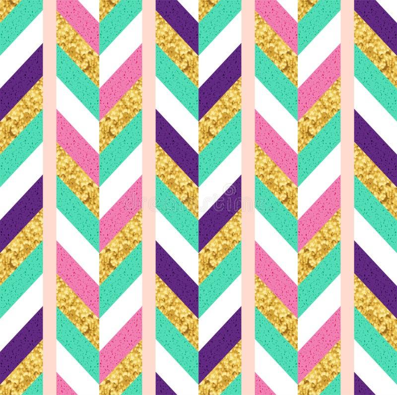 Guld- den s?ml?sa modellen f?r den bl?nka, rosa, gr?na och purpurf?rgade geometriska fiskbensm?nstret Glamourstiltryck vektor illustrationer