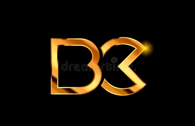 guld- guld- design för kombination för logo för metallalfabetbokstav royaltyfri illustrationer