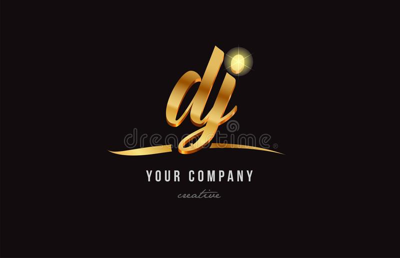 guld- design för symbol för kombination för logo för alfabetbokstavsdj D j stock illustrationer