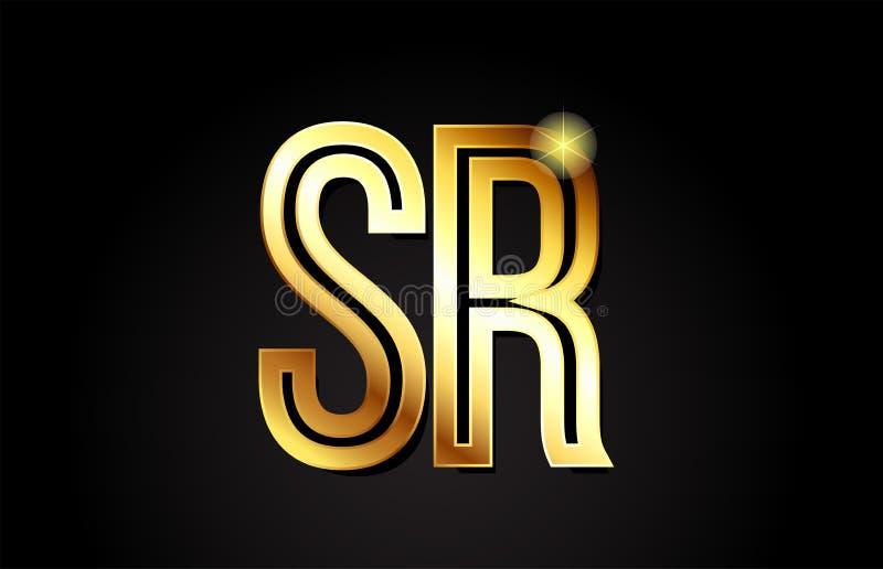 guld- design för symbol för kombination för logo för alfabetbokstavssr s r vektor illustrationer