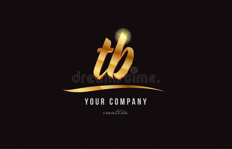 guld- design för symbol för kombination för logo för alfabetbokstavstb t b stock illustrationer