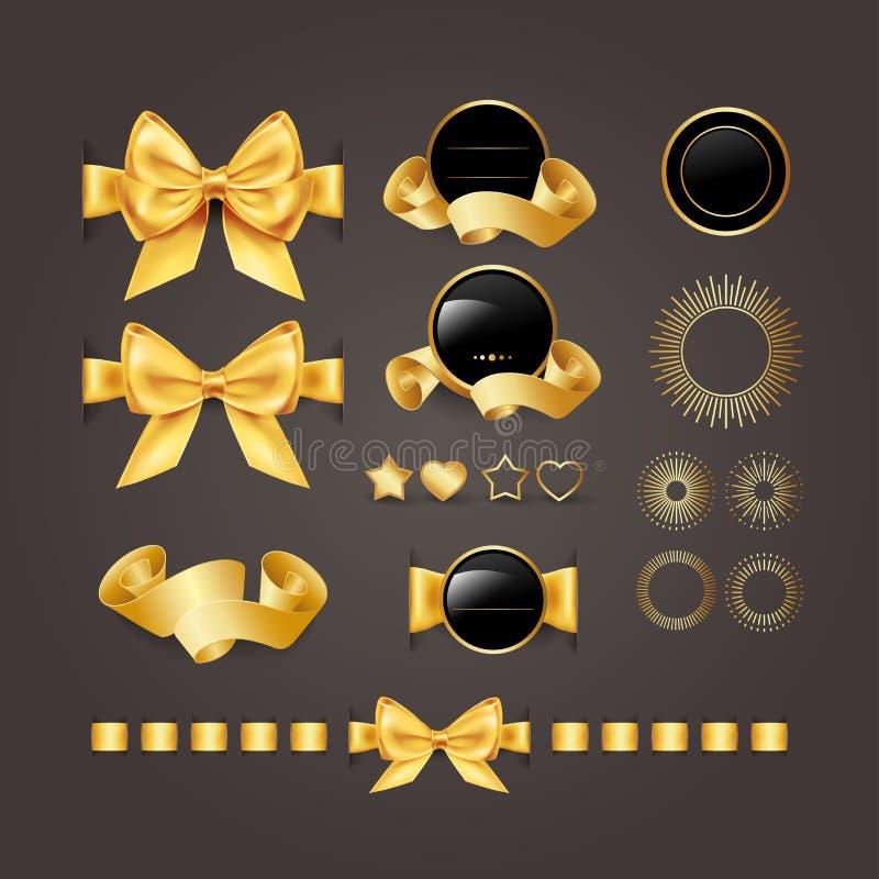 Guld- designbeståndsdelar skyddsremsor baner, förser med märke, skyddar, etiketter, snirklar, hjärtor och stjärnor Guld- band och royaltyfri illustrationer