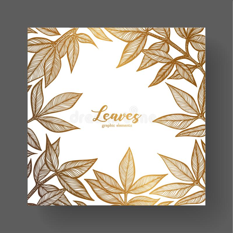 Guld- designmall för att gifta sig inbjudningar, hälsningkort, etiketter, förpackande design, ram för inspirerande citationstecke royaltyfri illustrationer