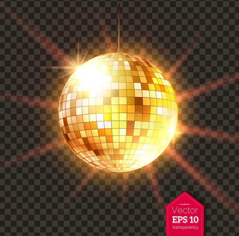Guld- diskoboll med ljusa strålar vektor illustrationer
