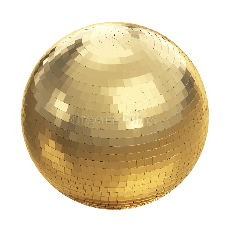 Guld- diskoboll på vit stock illustrationer