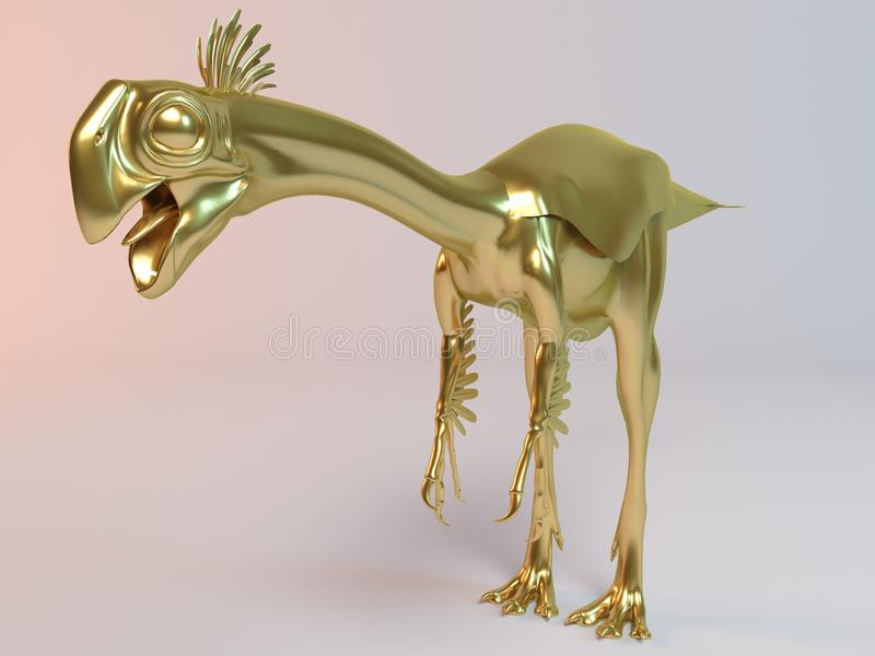 Guld- djur 3D (Gigantoraptor) stock illustrationer