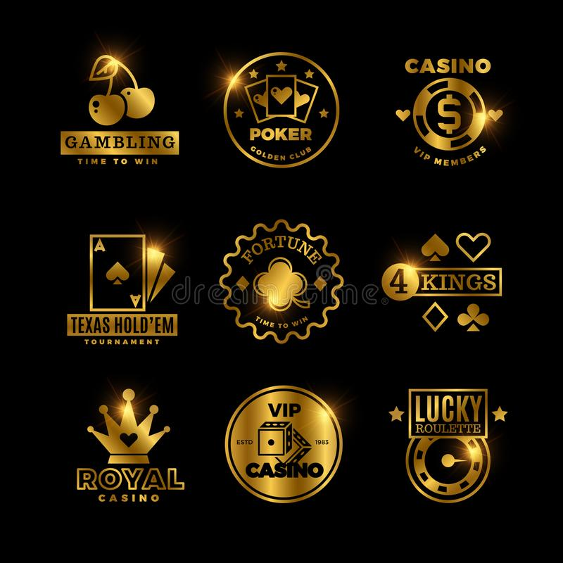 Guld- dobbleri, kasino, kunglig turnering för poker, roulettvektoretiketter, emblem, logoer och emblem royaltyfri illustrationer