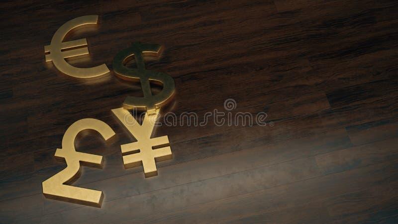 Guld- dollar-, euro-, yen- och pundvalutasymbol på trägolvet med fritt utrymme på rätt royaltyfri illustrationer
