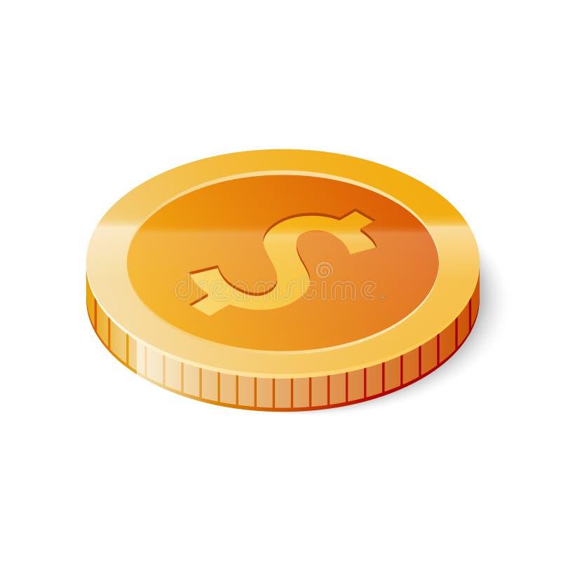 Guld- dollarmyntsymbol som isoleras på vit bakgrund Isometrisk vektorillustration vektor illustrationer